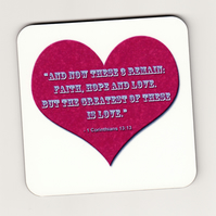 Bible Verse Square Cork Coaster with Heart - Faith, Hope, Love