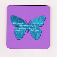 "Bible Verse Square Cork Coaster with Butterfly - ""Your Beauty ... Quiet Spirit"""