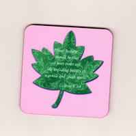 "Bible Verse Square Cork Coaster with Leaf - ""Your Beauty ... Quiet Spirit"""