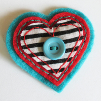 Handmade Heart Brooch - Turquoise red felt fabric