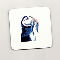 Puffin Illustration Square Cork Coaster