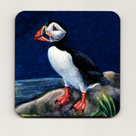 Puffin Square Cork Coaster