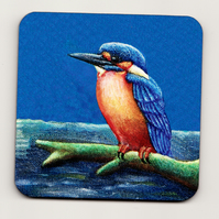 Kingfisher Square Cork Coaster