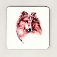 Shetland Sheepdog Square Cork Coaster