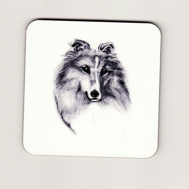 Shetland Sheepdog Square Cork Coaster - Monochrome
