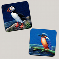 Set of 4 Puffin and Kingfisher Coasters
