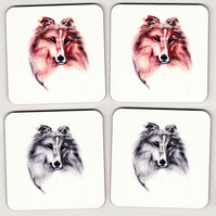 Set of 4 Shetland Sheepdog Coasters