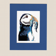 "Puffin Illustration Window Mounted Print Large 8"" x 10"""