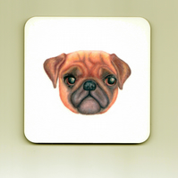 Pug Square Cork Coaster