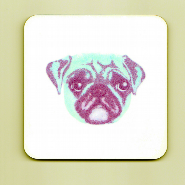 Pop Art Pug Square Cork Coaster