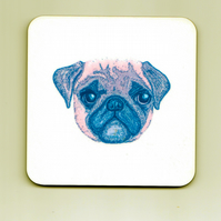 Pug Stamp Effect Square Cork Coaster