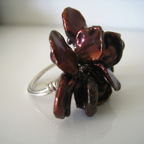 Chocolate Freshwater Keishi Pearl Ring