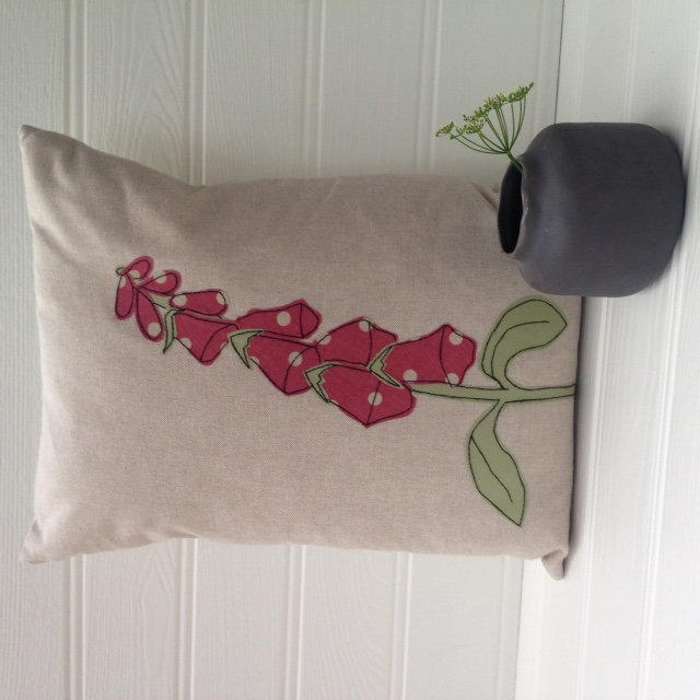 Reduced - Handmade Foxglove Flower Applique Cushion
