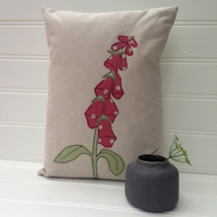 Sale - Handmade Foxglove Flower Applique Cushion