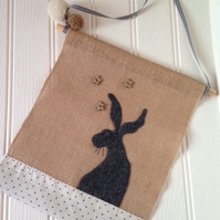 Wall Art - Applique Hare Wall Hanging