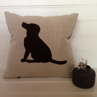 Sale - Handmade Applique Cushion - Brown Chocolate Labrador Dog Cushion