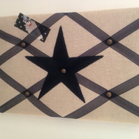 Handmade Notice Board Applique Blue Star