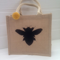 Sale - Small Jute Shopper or Lunch Bag with Bee & Pom Pom