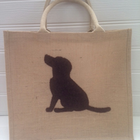 Sale - Hand Applique Chocolate Brown Labrador Jute Shopper Bag