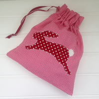 Sale - Drawstring Rabbit Applique Dolly Bag
