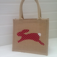 Sale - Jute Rabbit Applique Shopper Lunch Bag