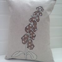 Sale - Foxglove - Applique Cushion - Natural