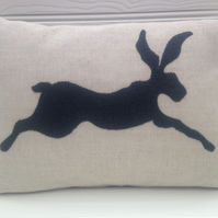 Sale - Handmade Applique Cushion - Leaping Hare - Dark Grey