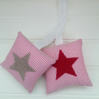 Sale - Star Applique Hanging Decoration Pair