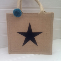 Jute Blue Star Applique Jute Shopper Lunch Bag