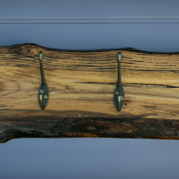 Live Edge Solid English Elm Coat and Hat Rack