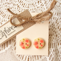 Wooden Button Earrings with Flower Design