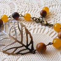 Beaded Bracelet with Yellow Topaz, Picasso Jasper and Leaf Detail