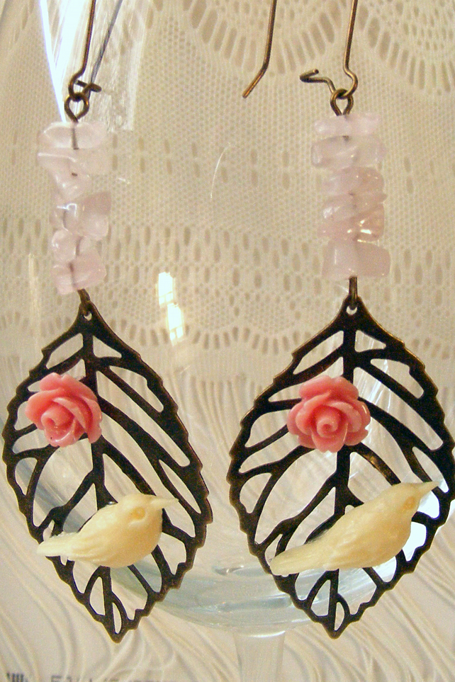 SALE! 50% off! Long Earrings with Rose Quartz and Bird & Rose Cabochons