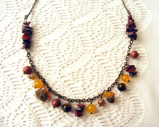 SALE! 50% off! Gemstone Necklace in Autumn Colours