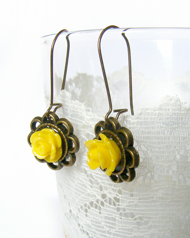 Vintage Inspired Earrings with Yellow Rose Cabochons