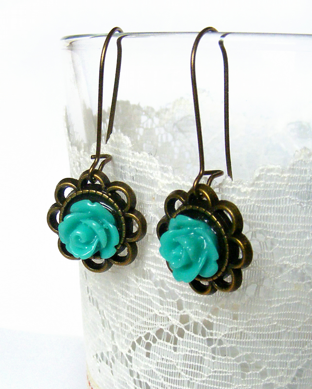 Pretty Bronze Earrings with Blue Rose Cabochons