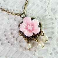 Sale! 50% off! Dainty, Flower Cabochon, Pendant Necklace in Pale Pink
