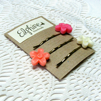 SALE! 20% off! Trio of Bobby Pins with Bright Flower Cabochons