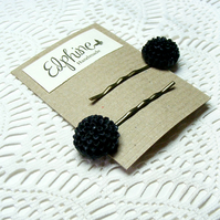 Pair of Black Dahlia Bobby Pins