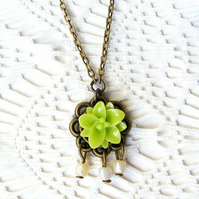 SALE! 50% off! Pendant Necklace with Lime Green Flower