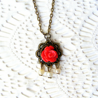 Sale 50% off! Romantic Red Rose Pendant Necklace