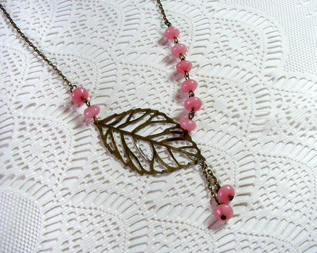 Bronze Necklace with Pink Morganite Beads and  Leaf Detail