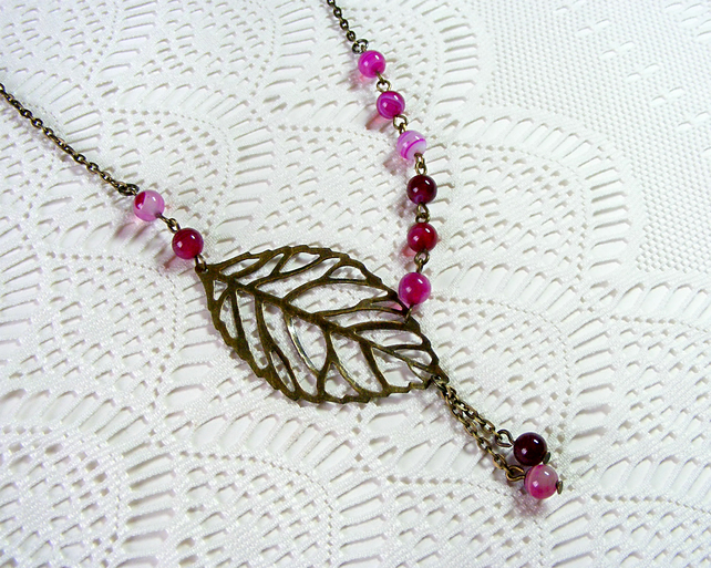 Pink Agate Beaded Necklace with Bronze Filigree Leaf