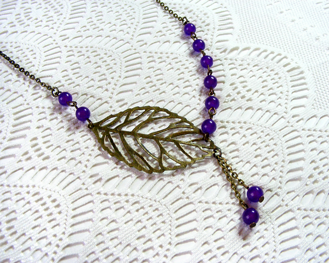 Bronze Necklace with Amethyst Beads and Leaf Detail