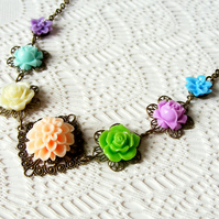 SALE! 50% off! Flower Statement Necklace in Summer Colours