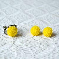 Sunshine Yellow Earring & Ring Set