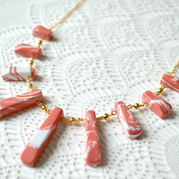 Sale 50% off! Coral & White Howlite Fan Necklace
