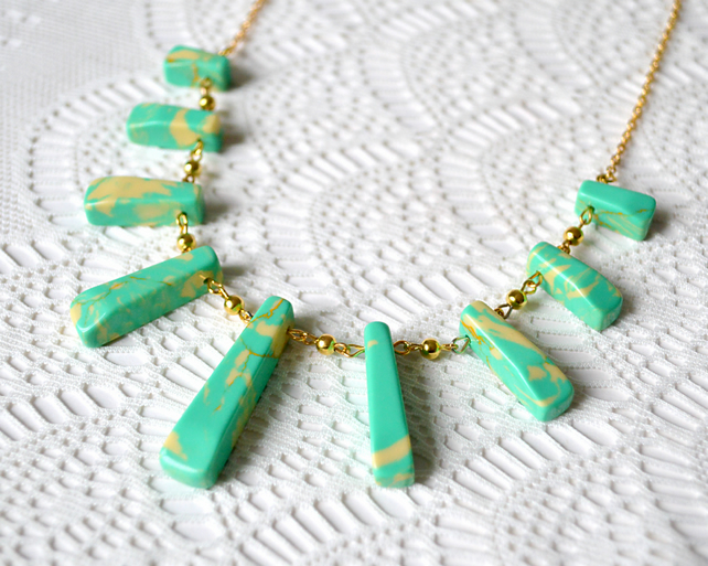 Sale 50% off! Green & Yellow Howlite Necklace