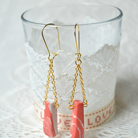 Sale! 50% off! Coral Pink & White Howlite Earrings
