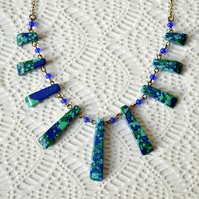 Blue & Green Howlite Fan Necklace